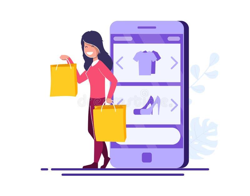 Conceito em linha do vetor da compra A mo?a com pacotes est? no fundo de um telefone celular com uma loja em linha aberta ilustração royalty free