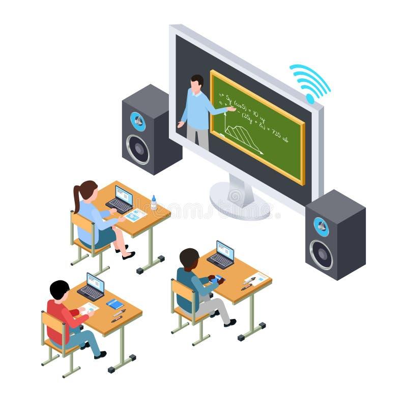 Conceito em linha do vetor da educação Estudantes e professor internacionais na tela ilustração royalty free