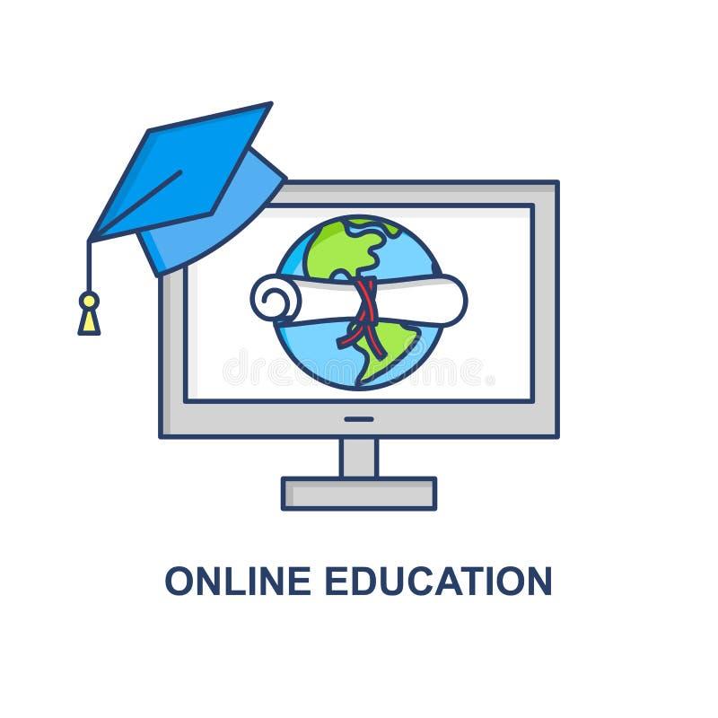 Conceito em linha do vetor da educação Sinal da bandeira do ensino eletrónico Ilustração da escola do Internet Conceito do diplom ilustração do vetor