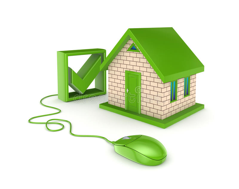 Conceito em linha dos bens imobiliários. ilustração stock