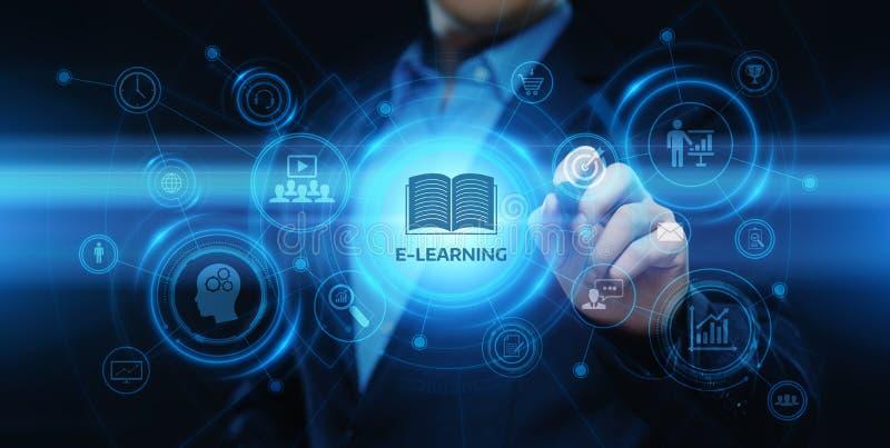 Conceito em linha dos cursos de Webinar da tecnologia do Internet da educação do ensino eletrónico ilustração stock