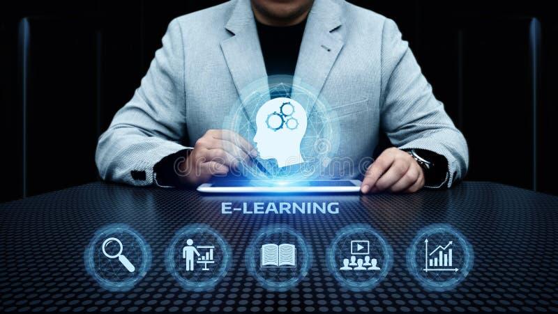 Conceito em linha dos cursos de Webinar da tecnologia do Internet da educação do ensino eletrónico imagens de stock royalty free