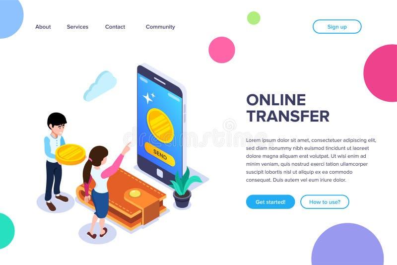 Conceito em linha isométrico de transferência Transferência dos fundos usando um telefone celular Renúncia do dinheiro físico em  ilustração stock