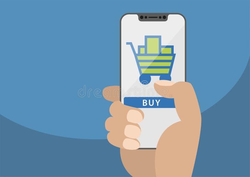 Conceito em linha móvel da compra indicado no écran sensível frameless como a ilustração Mão que guarda o smartphone livre da mol ilustração stock