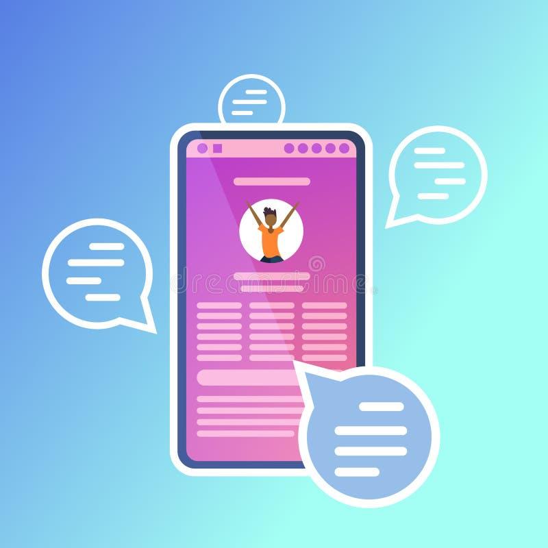 Conceito em linha móvel do mensageiro da relação do app de uma comunicação da mensagem de texto do discurso da aplicação da bolha ilustração do vetor