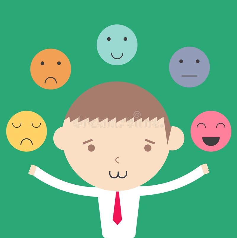 Conceito emocional da gestão do controle do homem de negócios ilustração royalty free