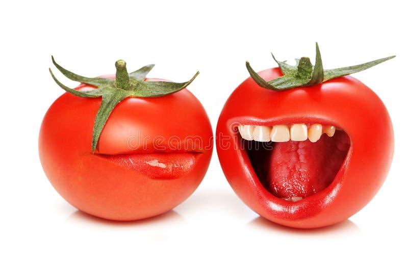Conceito engraçado com tomates e boca imagem de stock