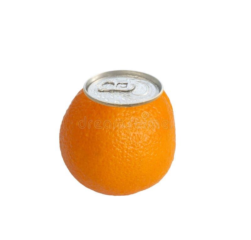 Conceito enlatado sumo de laranja fotografia de stock royalty free