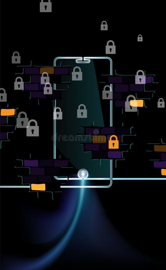 Conceito escuro do fundo de um Internet livre acessível Segurança digital líquida do bloco de Smartphone travando a bandeira pret ilustração stock