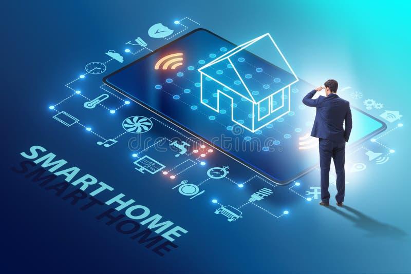 Conceito esperto da casa com dispositivos e dispositivos imagens de stock