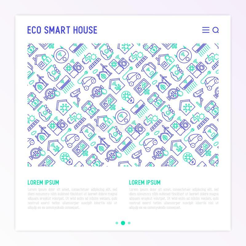 Conceito esperto da casa de Eco com linha fina ícones ilustração royalty free