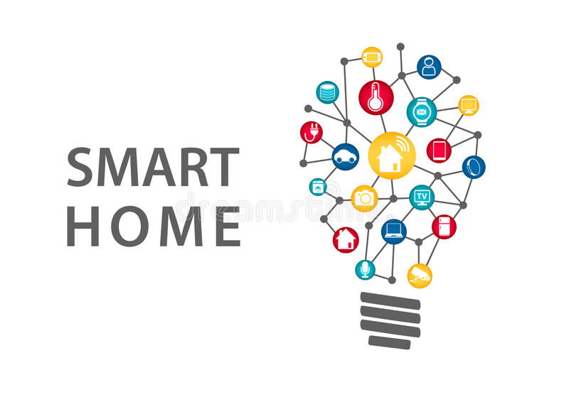 Conceito esperto da domótica Vector a ilustração da luz clara conectada dos aparelhos eletrodomésticos ilustração royalty free