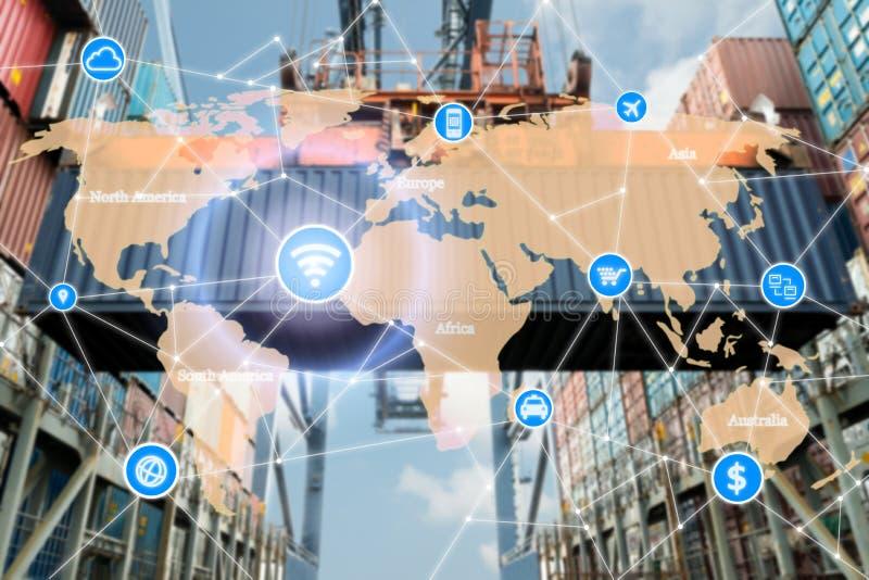 Conceito esperto da tecnologia com parceria global da logística para L fotografia de stock