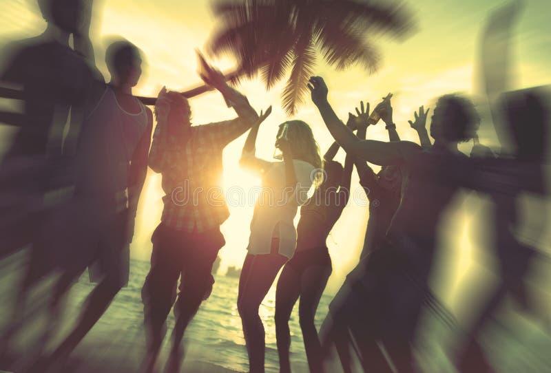 Conceito exterior da praia da celebração da apreciação do partido de dança foto de stock royalty free