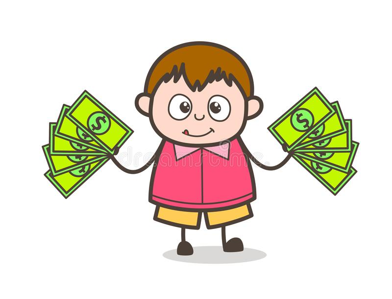 Conceito extra do dinheiro - ilustração gorda da criança dos desenhos animados bonitos ilustração royalty free