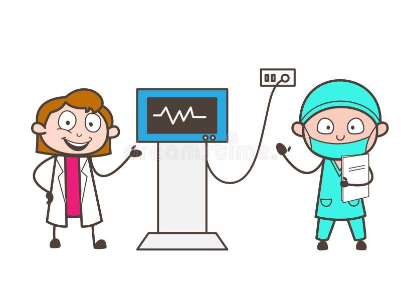 Conceito fêmea do vetor de Showing Patient Heartbeat do doutor e do cardiologista dos desenhos animados ilustração do vetor