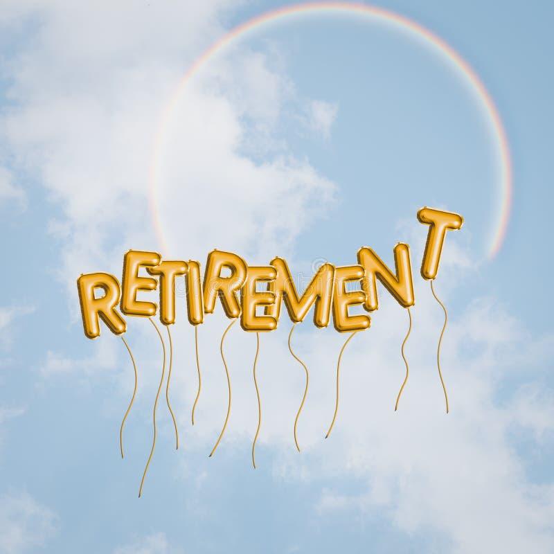 Conceito feliz da aposentadoria, céu azul, arco-íris, balões Liberdade, sonhos e esperanças com palavra do texto Otimista brilhan ilustração stock