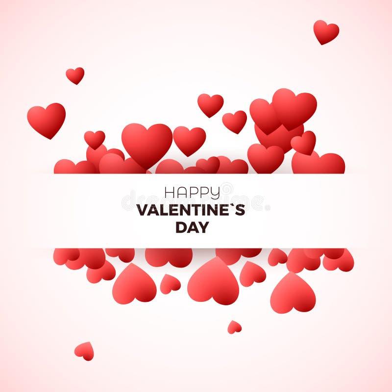 Conceito feliz do cartão do dia do ` s do Valentim O molde do projeto para o convite no casamento ou o dia de Valentim decoram co ilustração stock