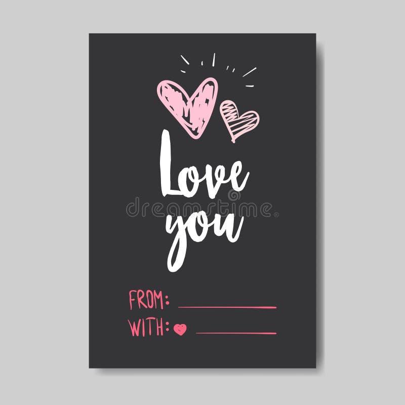 Conceito feliz do dia de Valentim do cartão do amor que rotula a forma cor-de-rosa tirada mão do coração do estilo da garatuja so ilustração do vetor