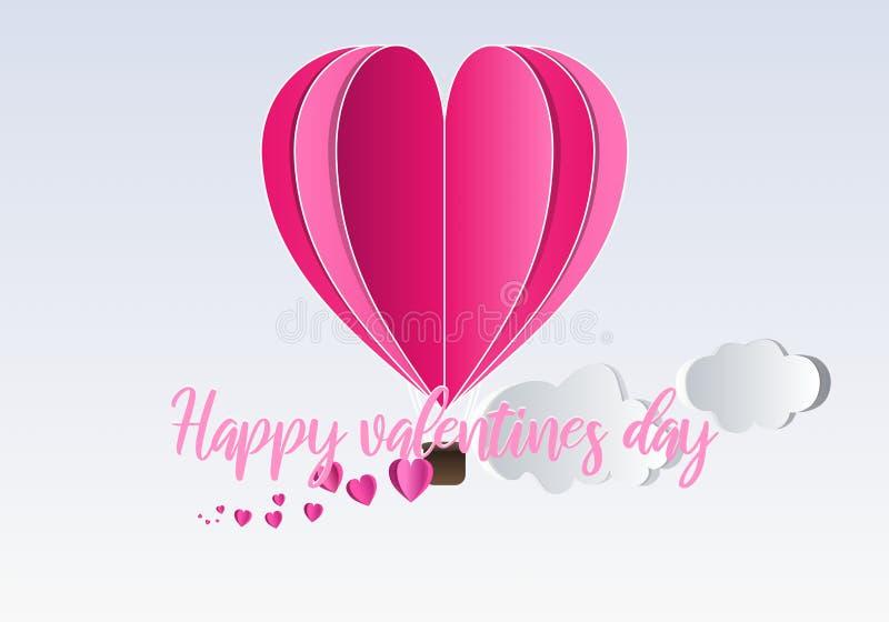 Conceito feliz do dia de Valentim, corações que vêm através da cesta de um voo do balão de ar quente no céu ilustração do vetor
