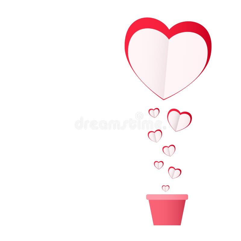 Conceito feliz do dia do ` s do Valentim do amor Corações de papel cor-de-rosa Plantado com amor ilustração royalty free