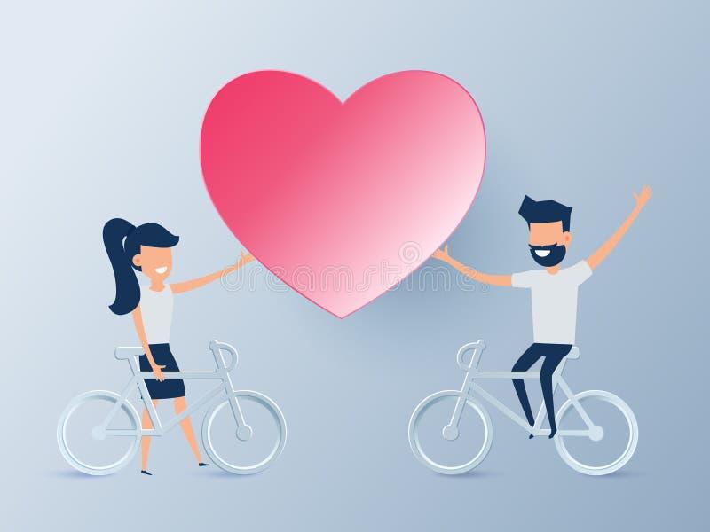 Conceito feliz do dia do ` s do Valentim do amor Pares novos bonitos que montam uma bicicleta com coração Queda no amor Projeto d ilustração do vetor