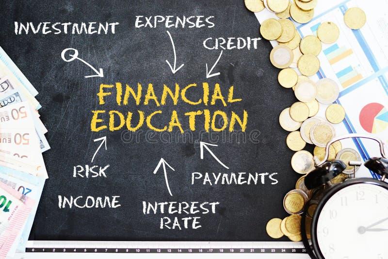 Conceito financeiro da educação escrito à mão no quadro-negro, perto do dinheiro do dinheiro e do despertador clássico imagem de stock royalty free