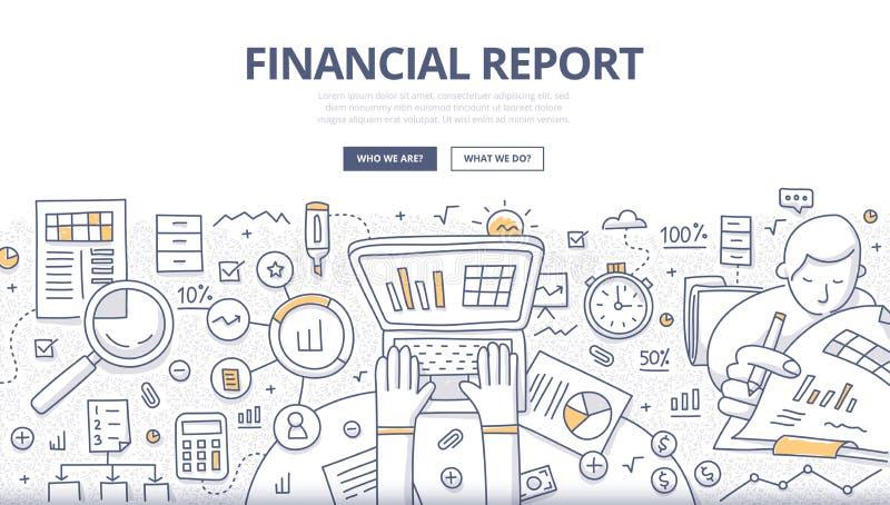 Conceito financeiro da garatuja do relatório ilustração stock