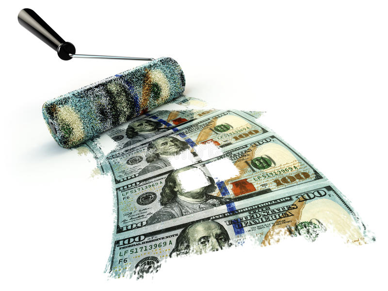 Conceito financeiro da renovação do negócio, escova do rolo e casa franco ilustração stock