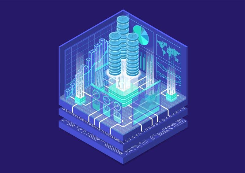 Conceito financeiro da tecnologia com as pilhas de dólares virtuais e o fluxo de dados das transações como a ilustração isométric ilustração royalty free