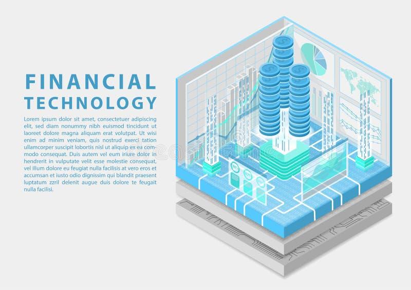 Conceito financeiro da tecnologia com as pilhas de dólares virtuais e o fluxo de dados das transações como a ilustração isométric ilustração stock