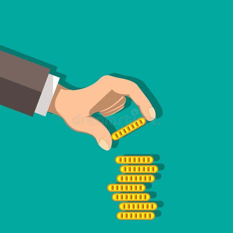 Conceito financeiro do crescimento com as pilhas de moedas de ouro Projeto liso ilustração do vetor