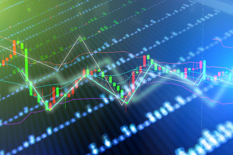 Conceito financeiro do negócio com gráfico da vara da vela fotografia de stock
