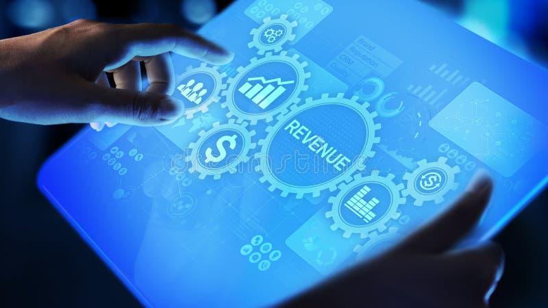 Conceito financeiro do negócio do crescimento das vendas do aumento do rendimento na tela virtual ilustração royalty free