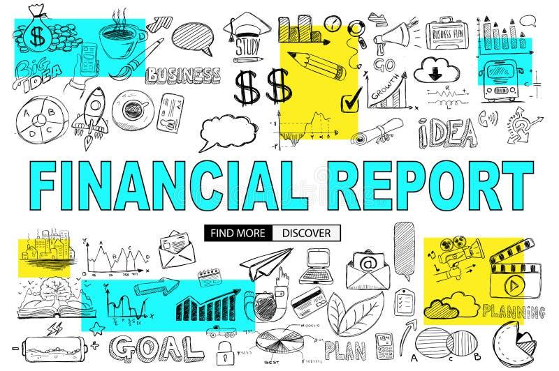 Conceito financeiro do relatório com estilo do projeto da garatuja: purcha em linha ilustração royalty free