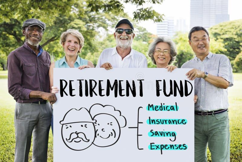 Conceito financeiro do sênior da avaliação de risco do plano da aposentadoria fotos de stock royalty free