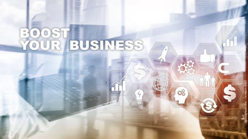 Conceito financeiro e da tecnologia Em uma inscri??o da tela virtual: Impulsione seu neg?cio ilustração royalty free