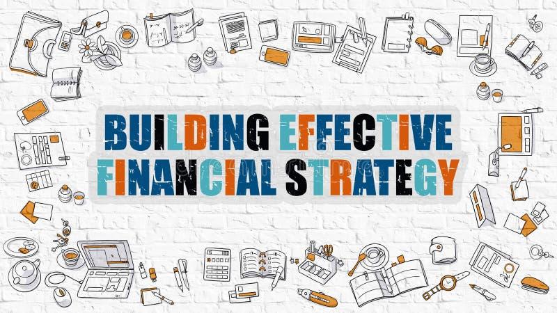 Conceito financeiro eficaz de construção da estratégia com projeto da garatuja ilustração royalty free