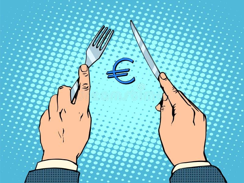 Conceito financeiro europeu da faca e da forquilha do Euro ilustração royalty free