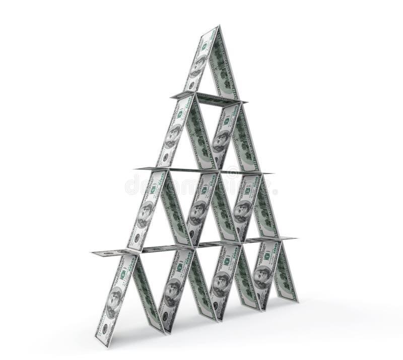 Conceito financeiro. Pirâmide abstrata do dinheiro ilustração royalty free