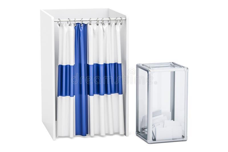 Conceito finlandês, urna de voto e cabinas de voto da eleição com bandeira ilustração stock