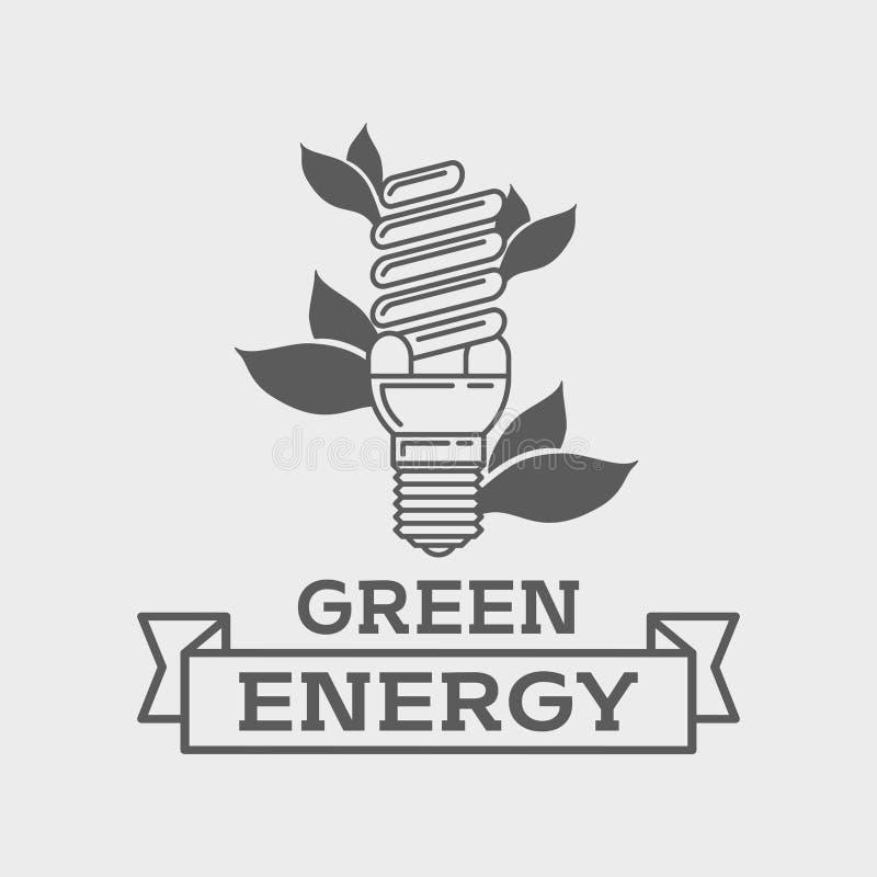 Conceito fluorescente eficiente do logotipo da ampola Linha verde símbolo da energia da arte ilustração stock
