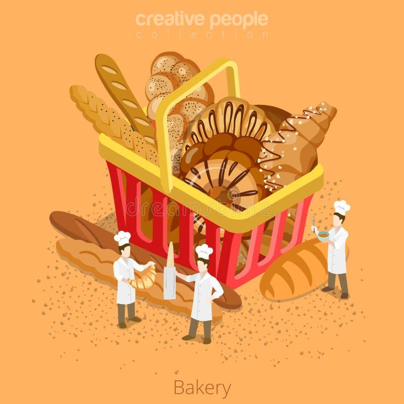 Conceito fresco da pastelaria da cesta da padaria Isomet 3d liso ilustração do vetor