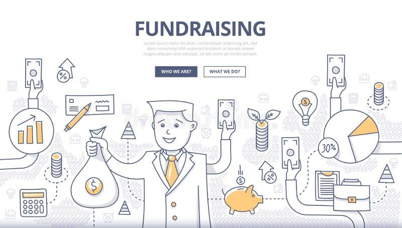 Conceito Fundraising da garatuja ilustração stock