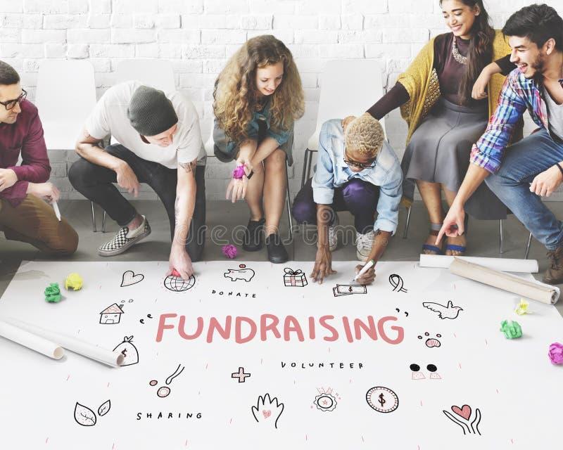 Conceito Fundraising do apoio da fundação da caridade das doações fotos de stock royalty free