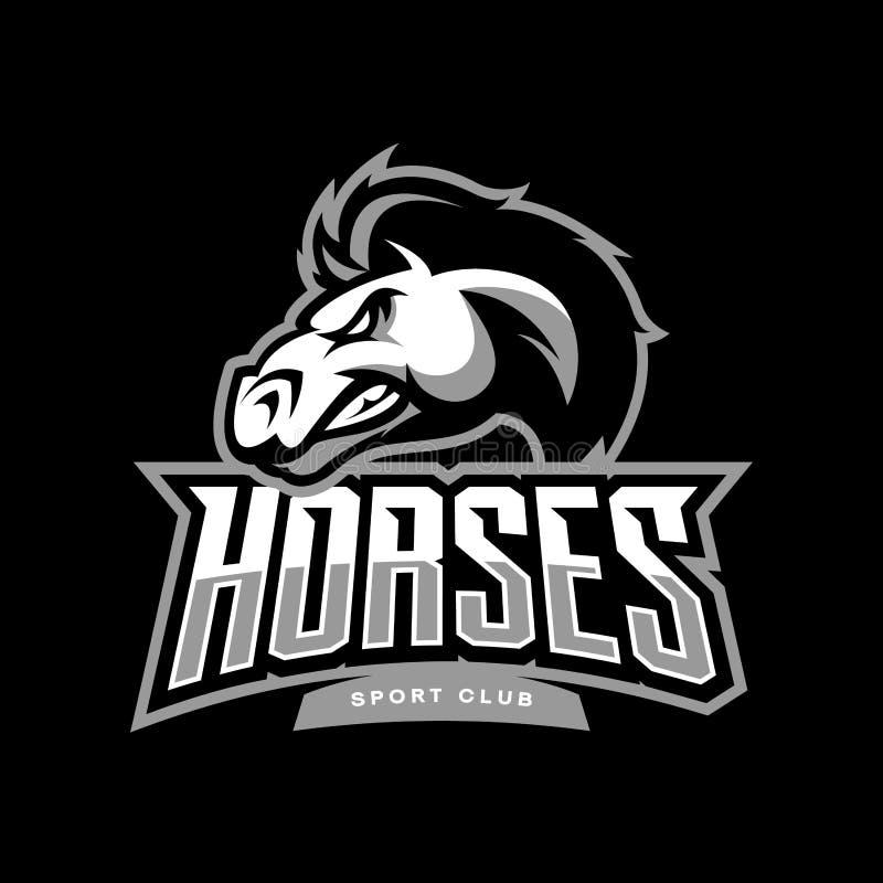 Conceito furioso do logotipo do vetor do clube de esporte do cavalo isolado no fundo escuro ilustração do vetor