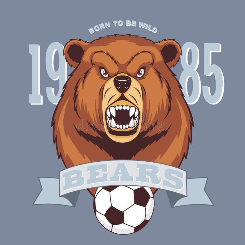 Conceito furioso do logotipo do esporte do urso ilustração royalty free