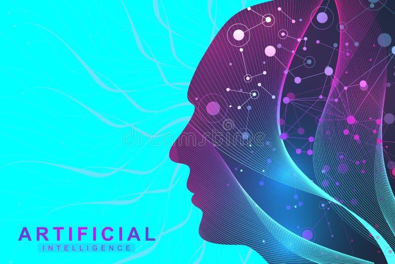 Conceito futurista da inteligência artificial e da aprendizagem de máquina Visualização grande humano dos dados Uma comunicação d ilustração stock