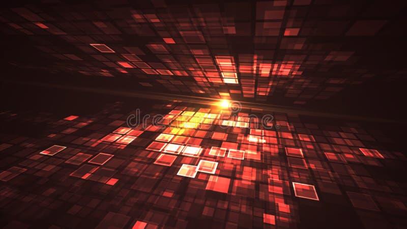 Conceito futurista de piscamento abstrato da tecnologia de Digitas da luz vermelha ilustração do vetor