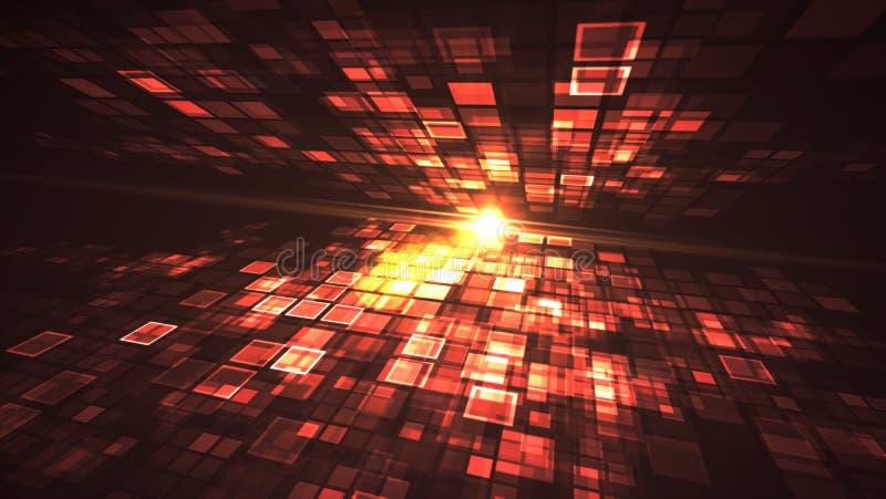 Conceito futurista de piscamento abstrato da tecnologia de Digitas da luz vermelha ilustração stock